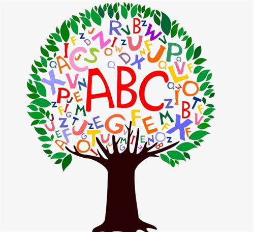 A tree with letters A to Z filled in various colors on the inside