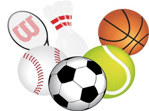 various sports balls and equipment. tennis racket, bowling pins, basketball, tennis ball, soccer ball, baseball