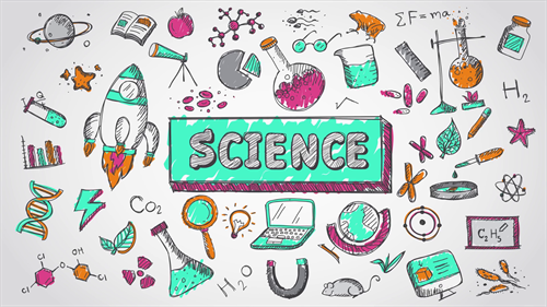 various science tools and learning resources such as a globe laptop graphs telescope