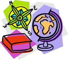 a picture of a globe, compass, and textbook