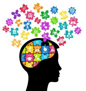 outline of a head, with the brain showing puzzle pieces to learning resources